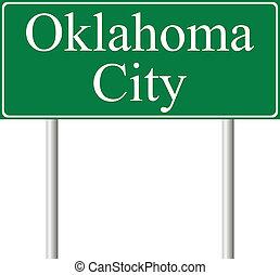 ciudad, oklahoma, verde, muestra del camino