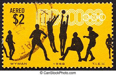 ciudad, olímpico, 1968, méxico, estampilla, voleibol, -, 19...