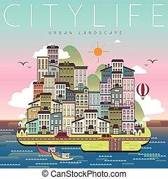 ciudad, paisaje, encantador, vida