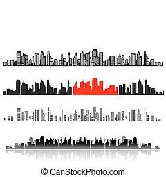 ciudad, paisaje, siluetas, de, casas, negro