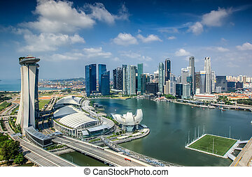 ciudad, paisaje, singapur