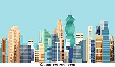 ciudad, panamá, contorno, rascacielos, plano de fondo, cityscape, vista