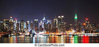 ciudad, panorama, contorno, york, noche, nuevo