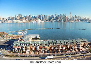 ciudad, panorama, río del hudson, york, nuevo