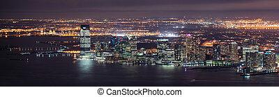ciudad, panorama, york, noche, nuevo, manhattan, jersey