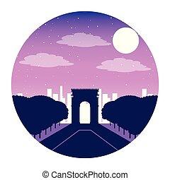 ciudad, parís francia, noche, arco, triunfo