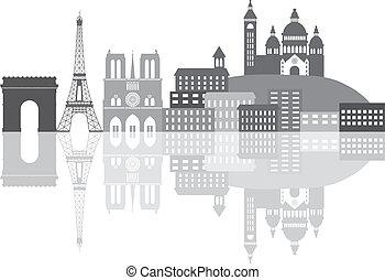 ciudad, parís, grayscale, ilustración, francia, contorno