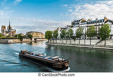 ciudad, parís, jábega, peniche, francia, río