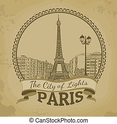 ciudad, parís, (, lights), retro, cartel, paisaje