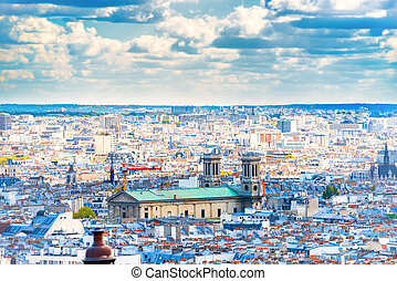 ciudad, parís, montmartre, panorama