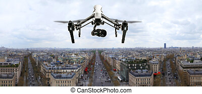 ciudad, parís, panorama, vuelo, zángano, sobre