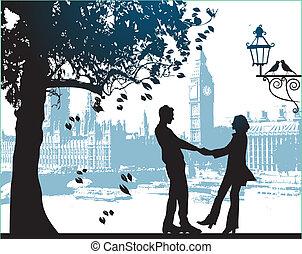 ciudad, pareja, parque, árbol, debajo