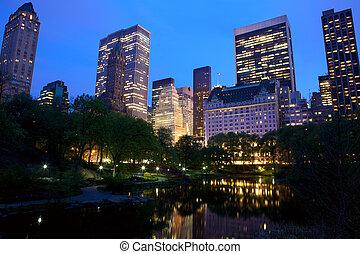 ciudad, parque central, contorno, york, nuevo