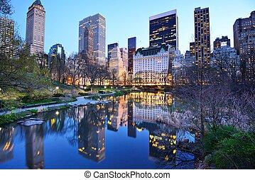 ciudad, parque central, lago, york, nuevo
