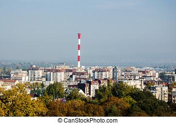 ciudad, parte,  industrial,  panorama