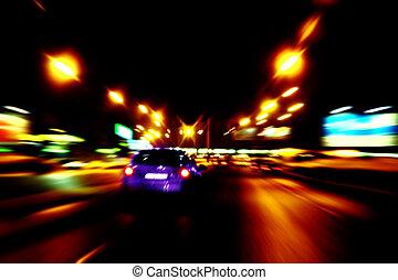 ciudad, paseo, calles, noche, coche