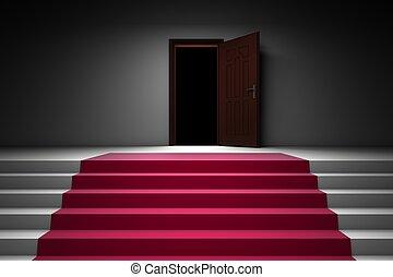 ciudad, pasos, vestíbulo, alfombra roja