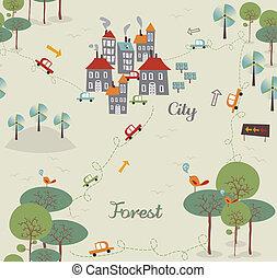 ciudad, patrón, verde, vendimia, ir, diseño