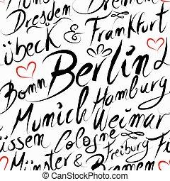 ciudad, patrón, viaje destino, seamless, alemania