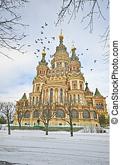 ciudad, paul, peterhof, st. petersburg, iglesia, ruso, peter