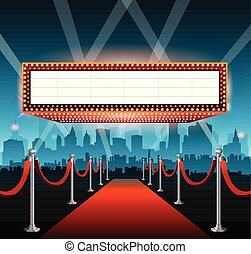 ciudad, película, plano de fondo, hollywood, alfombra roja