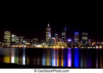 ciudad, perth, noche