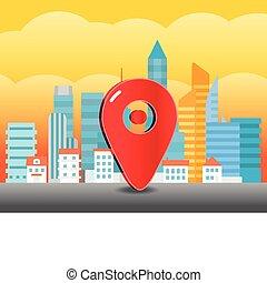 ciudad, pin., trafic, ilustración, vidrio, cityscape
