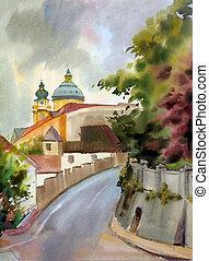 ciudad, pintado, acuarela, melk, austríaco, paisaje