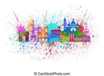 ciudad, pintura, parís, salpicadura, ilustración, color, ...