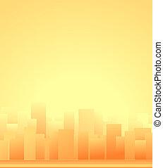 ciudad, plano de fondo, salida del sol