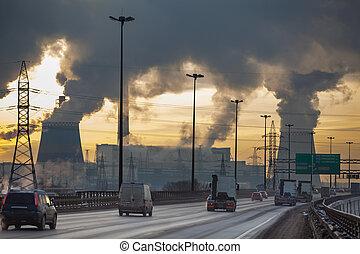 ciudad, planta, contaminación, calor, coches, eléctrico, ...