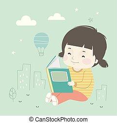 ciudad, poco, ilustración, libro, niña, niño