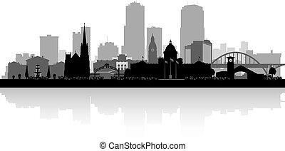 ciudad, poco, silueta, contorno, arkansas, roca