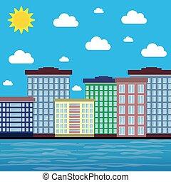 ciudad, por, el, mar, en, un, día soleado