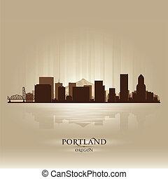 ciudad, portland, silueta, contorno, oregón