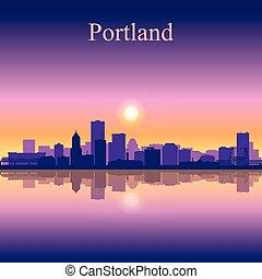 ciudad, portland, silueta, contorno, plano de fondo