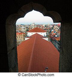 ciudad, porto, clerigos, vista, torre, portugal.