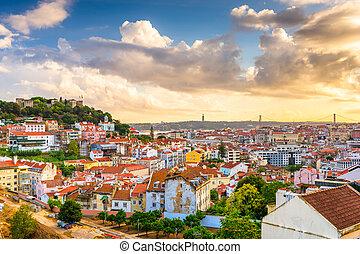 ciudad, portugal, sao, castillo, lisboa, jorge, contorno