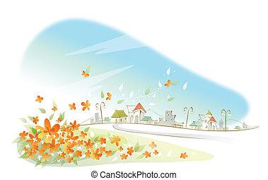 ciudad, primer plano, flores