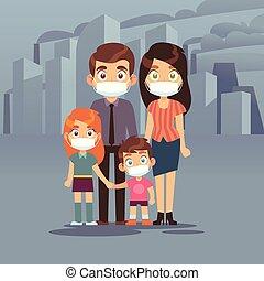 ciudad, protector, industrial, familia , gente, tóxico, aire, pm2, máscara, aislado, máscaras, cara, perjudicial, smog., vector, 5, polvo, niebla tóxica, desperdicio, n95, contaminación