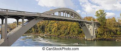 ciudad, puente, encima, oregón, willamette, otoño, río, arco