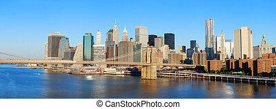 ciudad, puente, panorama, brooklyn, contorno, york, nuevo,...