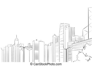 ciudad, rascacielos, bosquejo, vista, cityscape, contorno