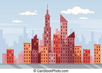 ciudad, rascacielos, vista, cityscape, contorno