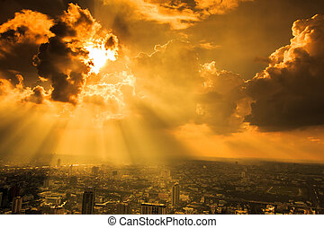ciudad, rayos, nubes, bangkok, luz, oscuridad, por, ...