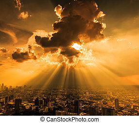 ciudad, rayos, nubes, bangkok, luz, oscuridad, por,...