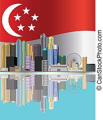 ciudad, reflexión, bandera de singapur, ilustración, contorno