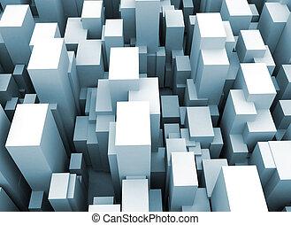 ciudad, resumen, cubos, scape, 3d