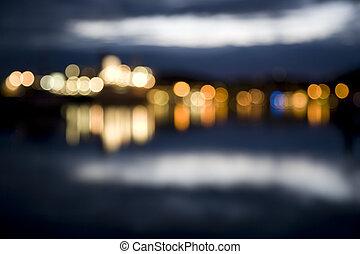 ciudad, resumen, foco, luces, noche afuera