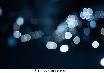 ciudad, resumen, fondo., bokeh, defocused, noche, filtrado